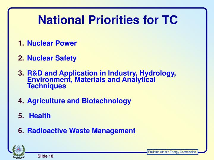 National Priorities for TC