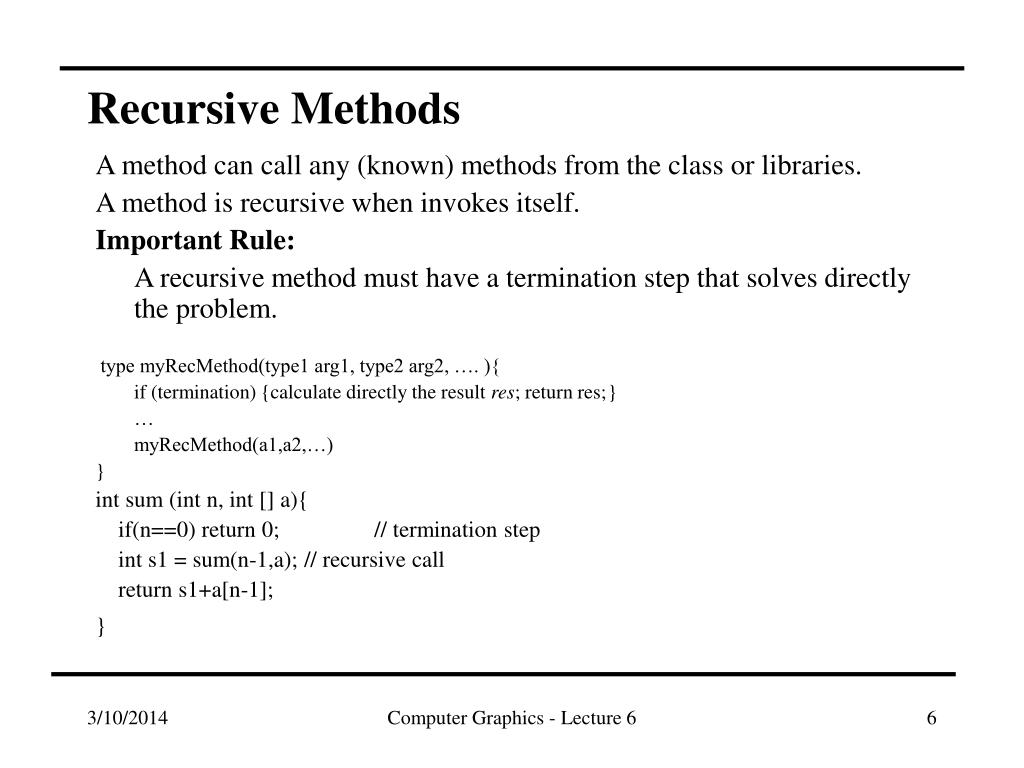 Recursive Methods