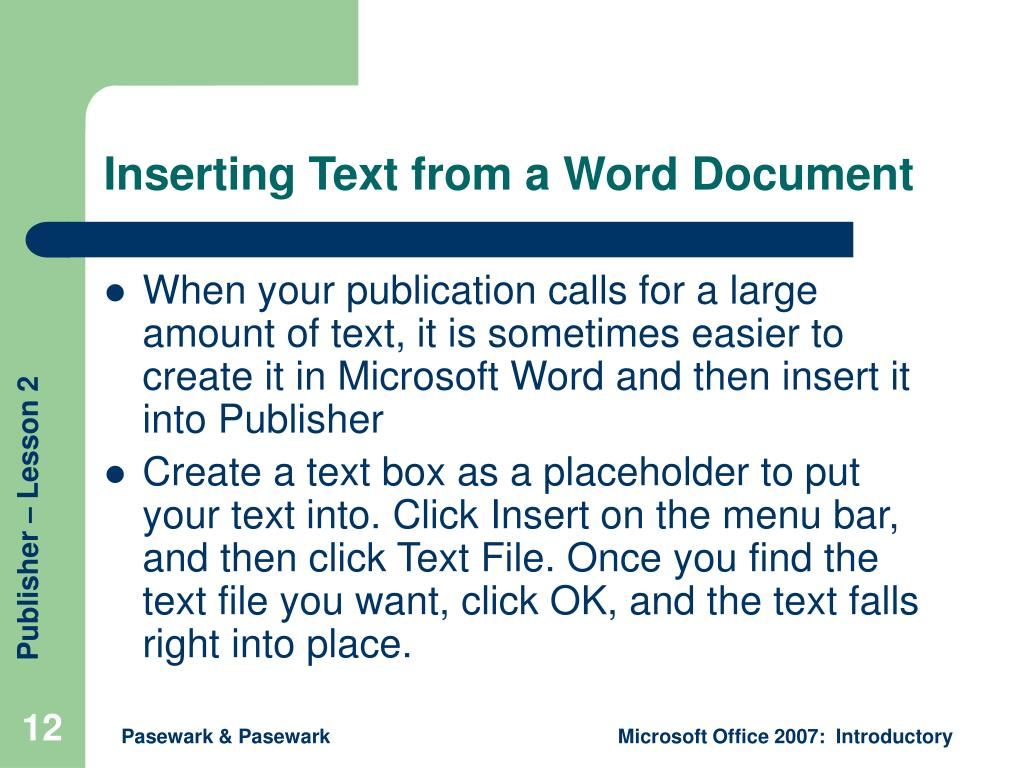 Inserting Text from a Word Document