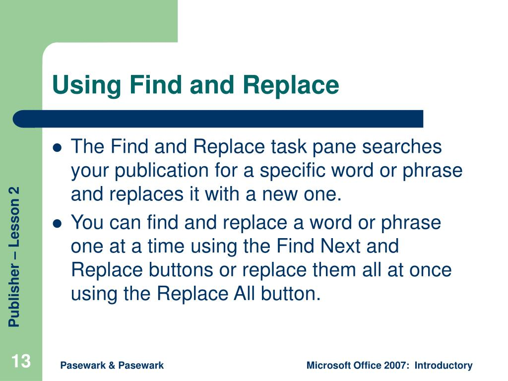 Using Find and Replace