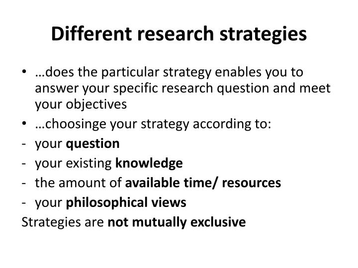 different research strategies