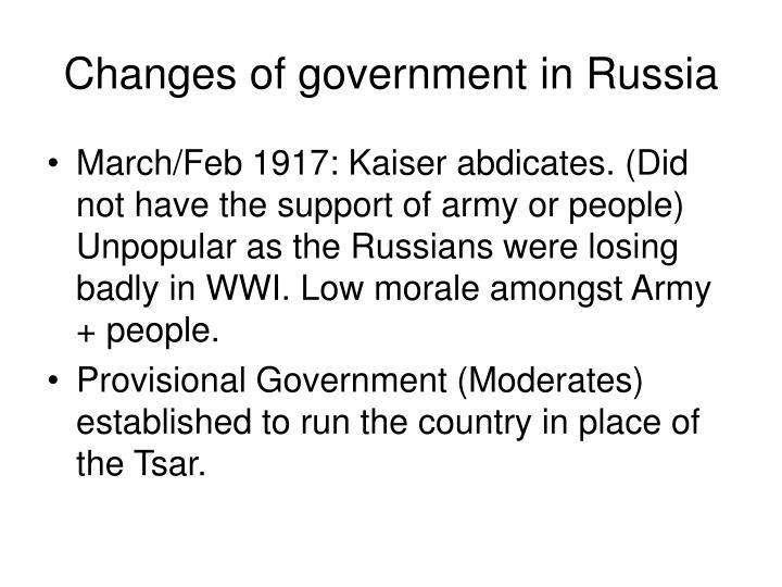 Changes of government in Russia