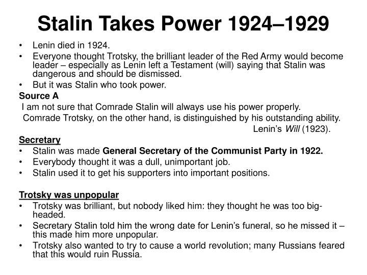 Stalin Takes Power 1924–1929