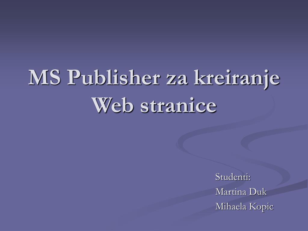 ms publisher za kreiranje web stranice l.