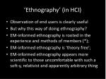 ethnography in hci