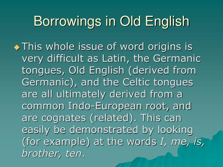 Borrowings in Old English