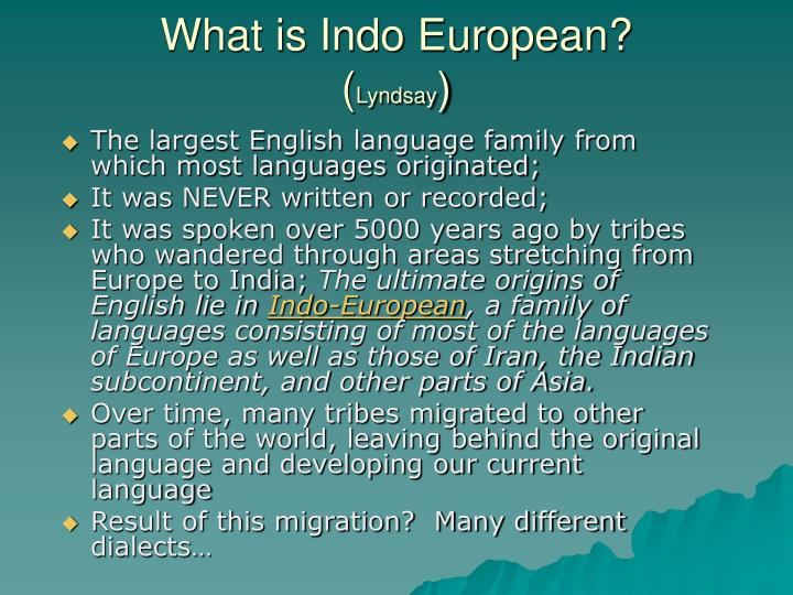 What is Indo European?