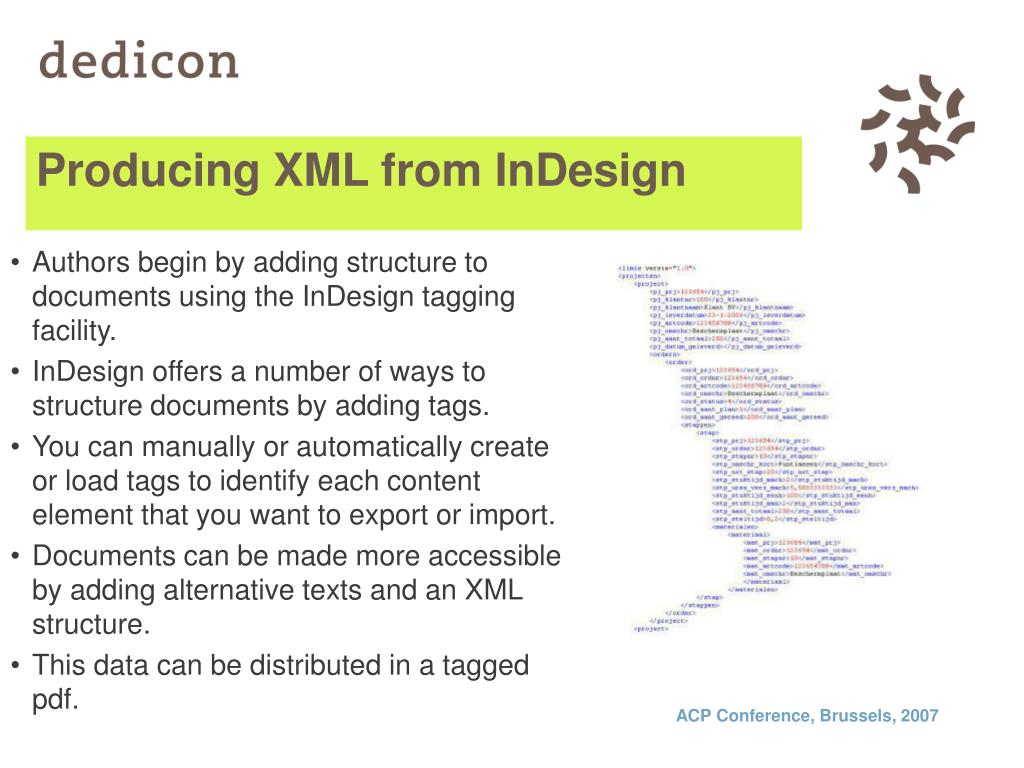 Producing XML from InDesign