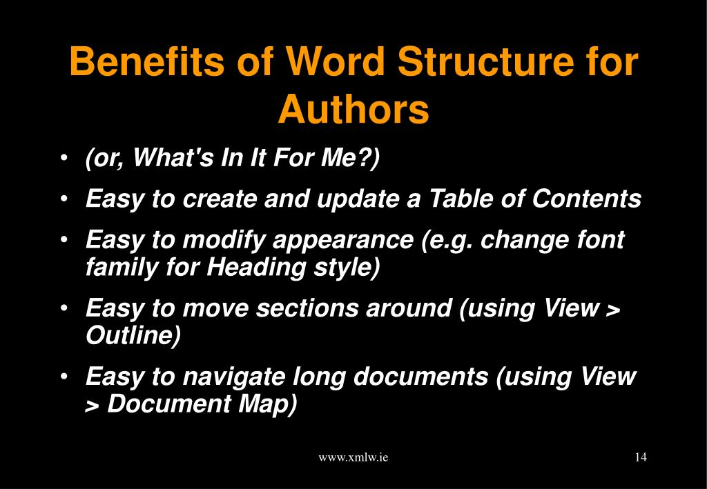 Benefits of Word Structure for Authors