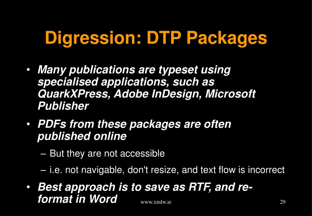 Digression: DTP Packages