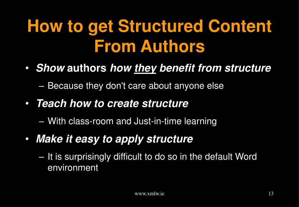 How to get Structured Content From Authors