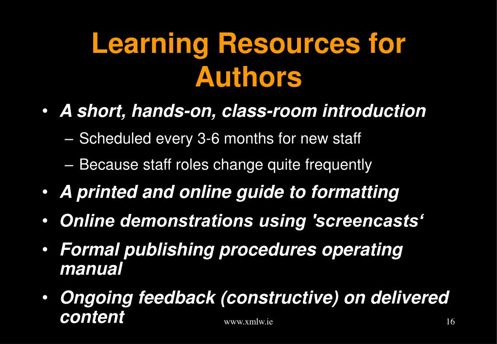 Learning Resources for Authors