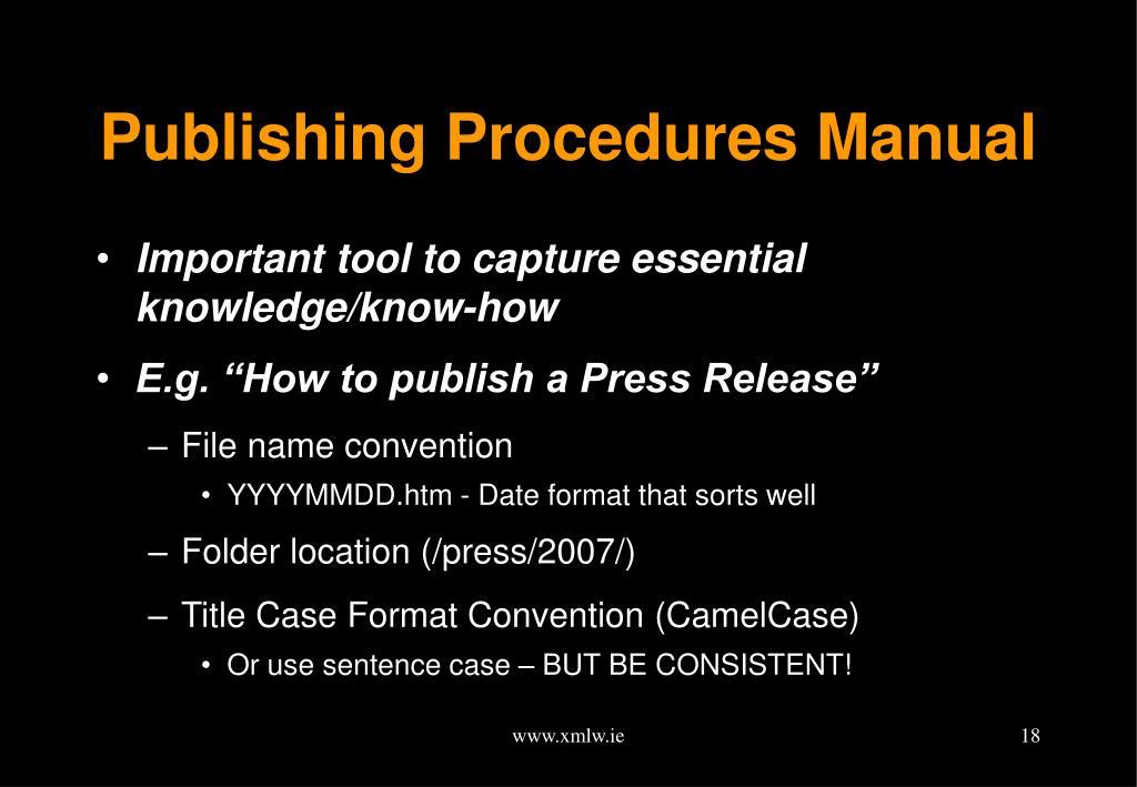 Publishing Procedures Manual