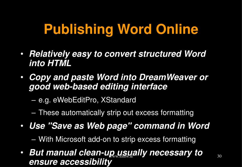Publishing Word Online