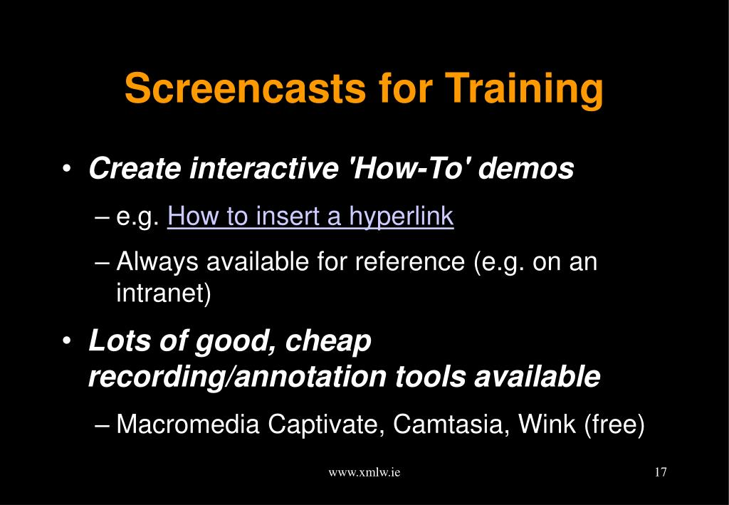 Screencasts for Training