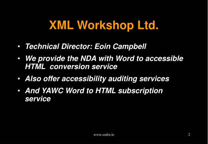 Xml workshop ltd