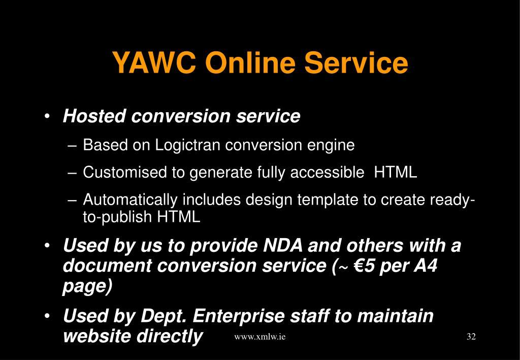 YAWC Online Service