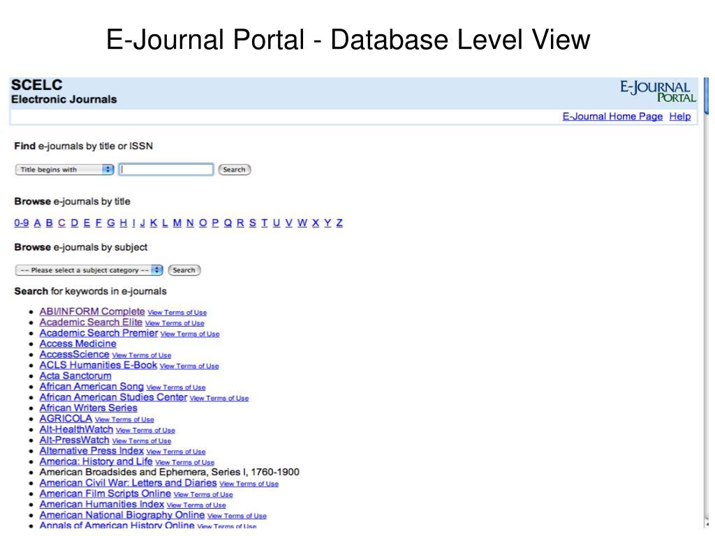 E-Journal Portal - Database Level View