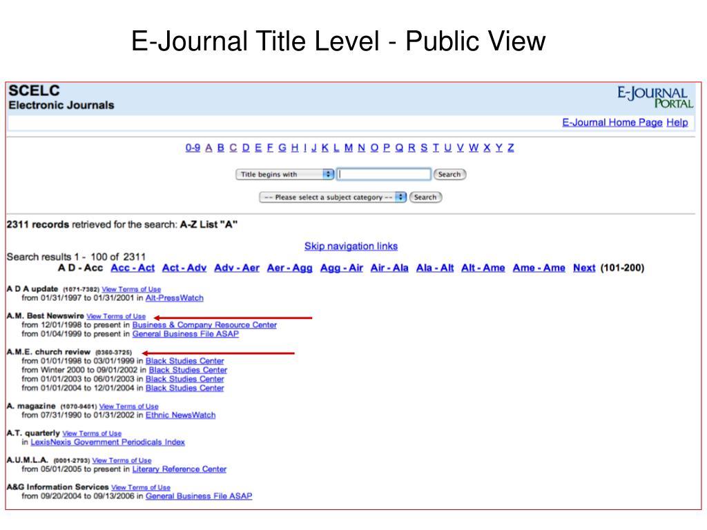 E-Journal Title Level - Public View