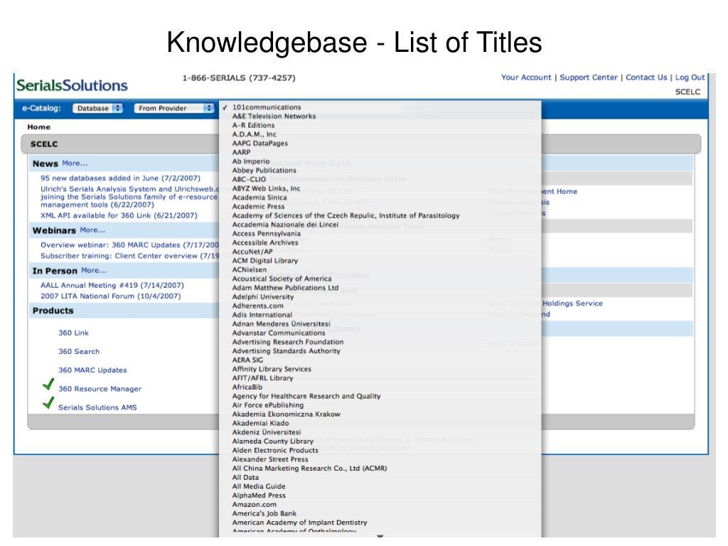 Knowledgebase - List of Titles