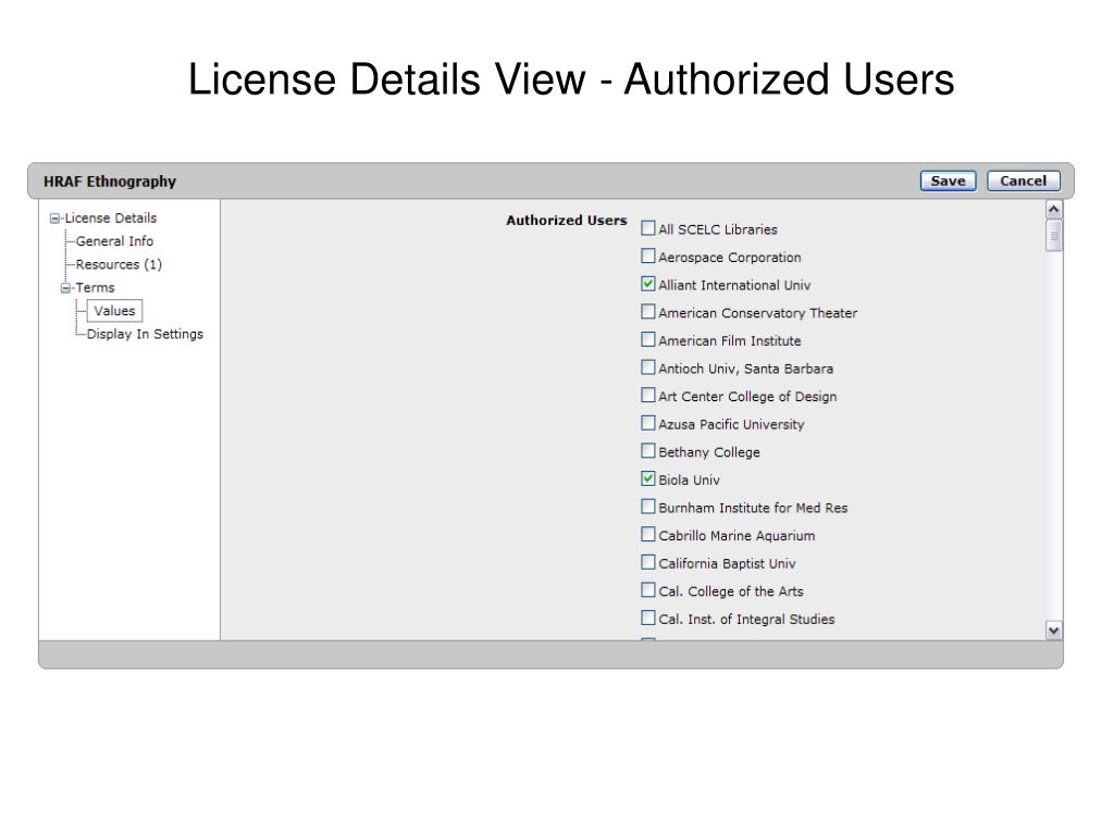 License Details View - Authorized Users