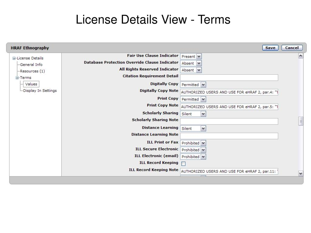 License Details View - Terms