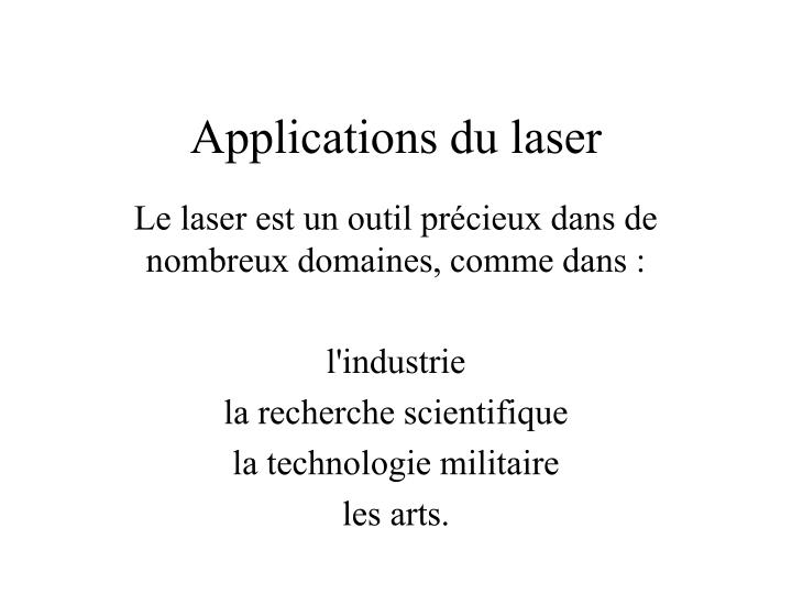 Applications du laser
