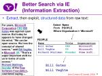 better search via ie information extraction
