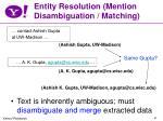 entity resolution mention disambiguation matching
