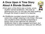 a once upon a time story about a blonde student