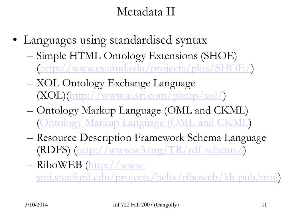 Metadata II
