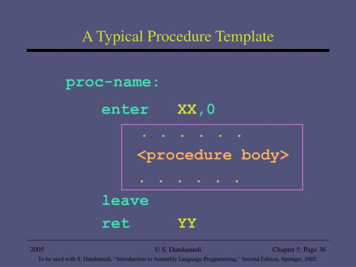 A Typical Procedure Template