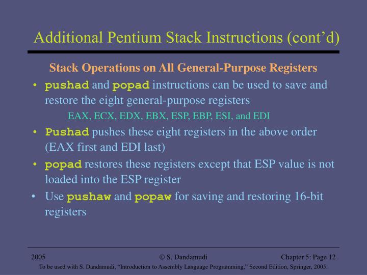Additional Pentium Stack Instructions (cont'd)