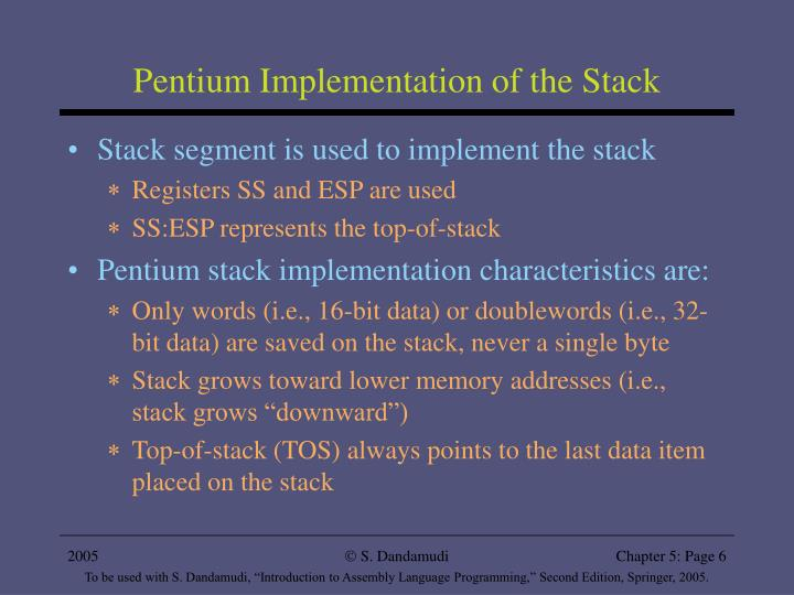 Pentium Implementation of the Stack
