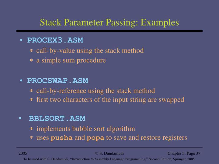 Stack Parameter Passing: Examples