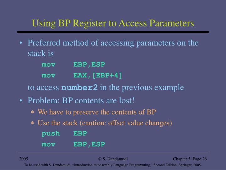 Using BP Register to Access Parameters