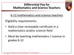 differential pay for mathematics and science teachers40