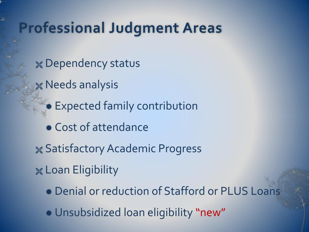 Professional Judgment Areas
