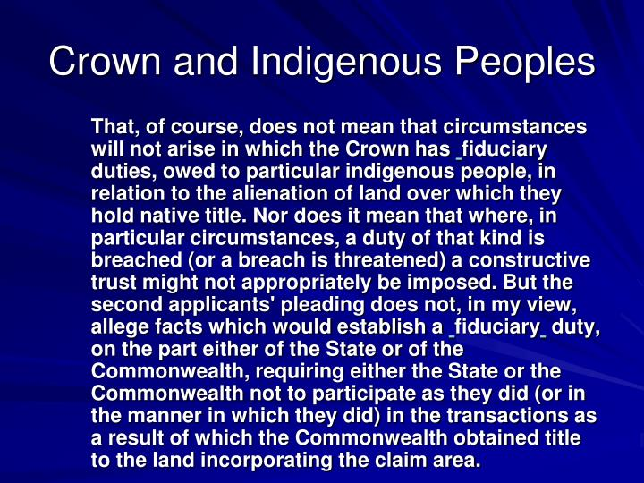 Crown and Indigenous Peoples
