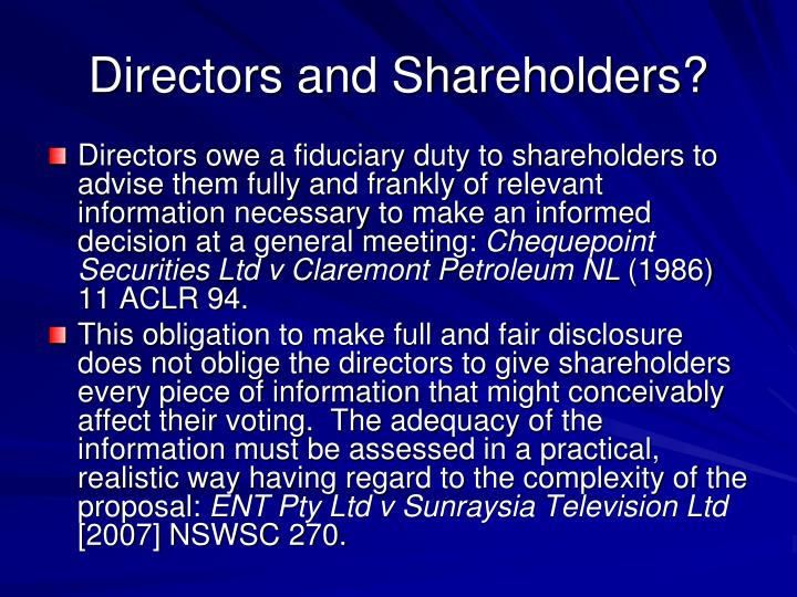 Directors and Shareholders?