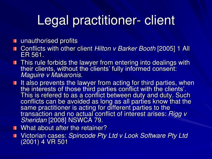Legal practitioner- client