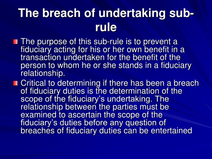 The breach of undertaking sub-rule