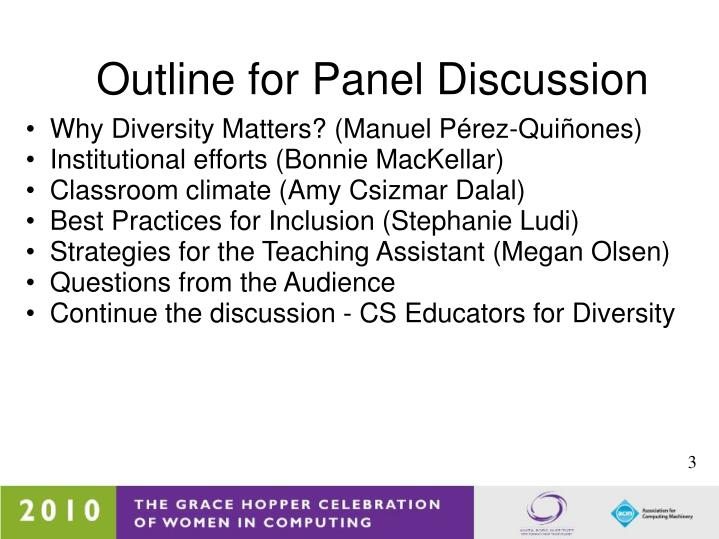 Outline for panel discussion