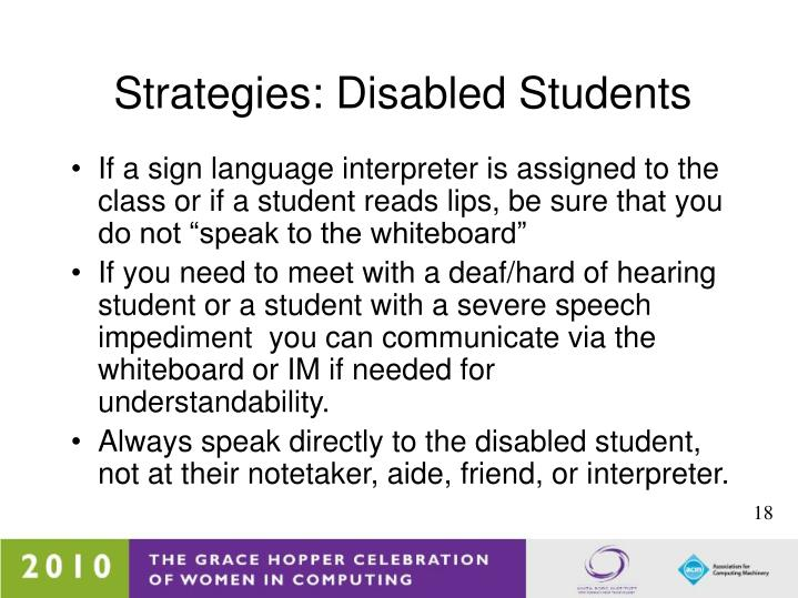 Strategies: Disabled Students