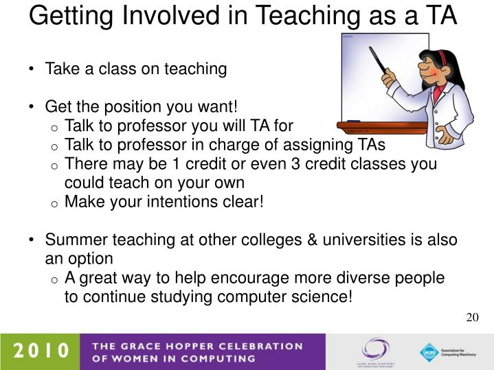 Getting Involved in Teaching as a TA