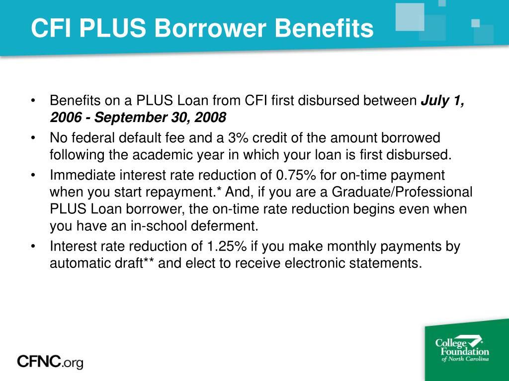 CFI PLUS Borrower Benefits