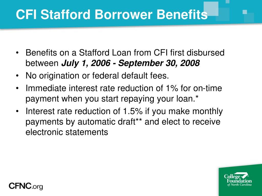 CFI Stafford Borrower Benefits