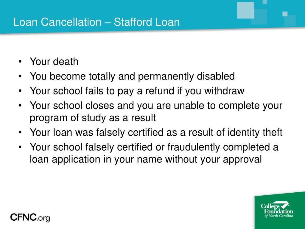 Loan Cancellation – Stafford Loan
