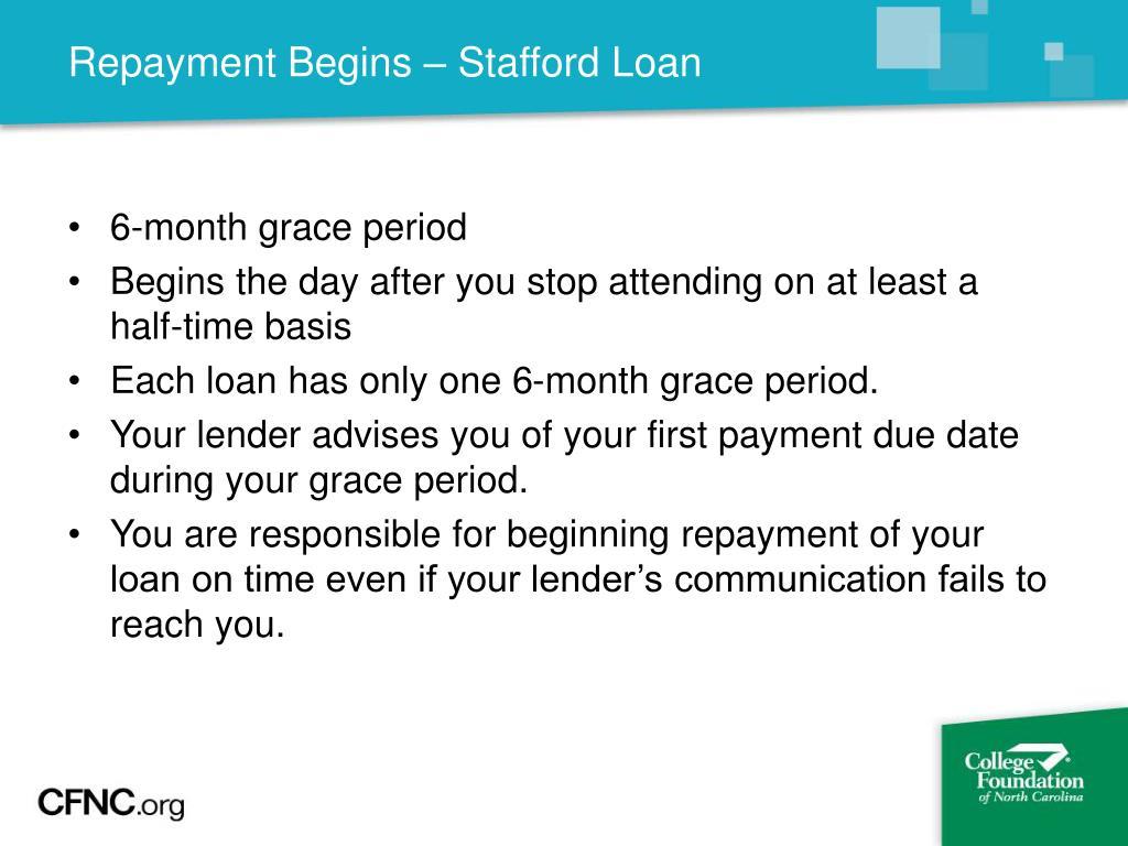 Repayment Begins – Stafford Loan