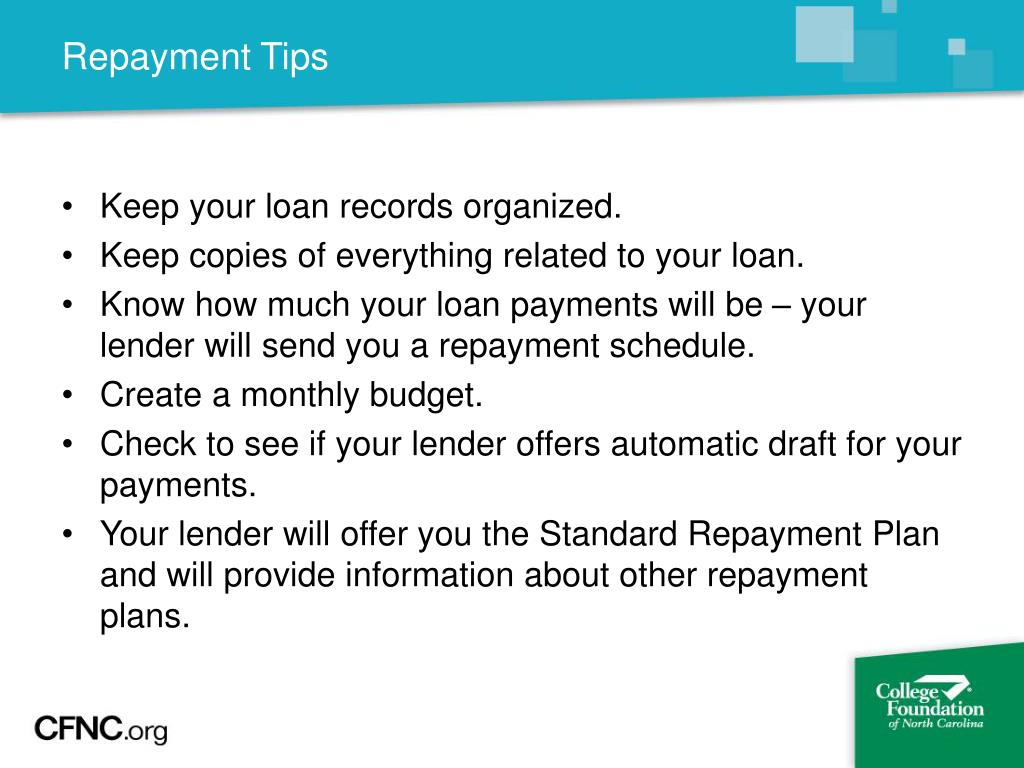 Repayment Tips
